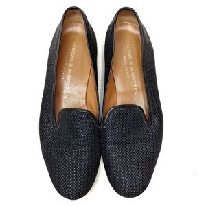 Stubbs & Wootton black Raffia loafer slipper 6.5